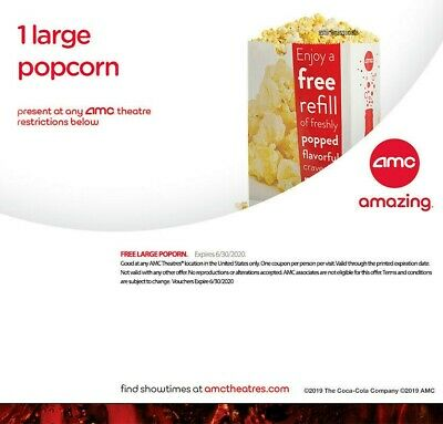 AMC Theater - 1 Large Popcorn Expires 06/30/2020 Same-Day Email delivery