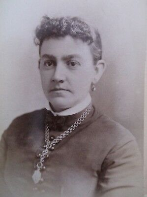 CDV Lovely Woman Id'd Fuller Necklace Earrings Curly Bangs Delnoon WI
