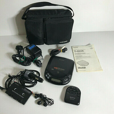 Sony Car Discman D-822K Excellent Condition w/ Accessories - All working -