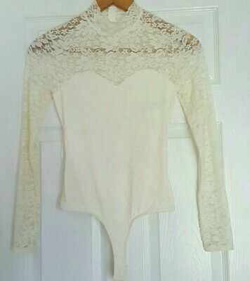 GUESS Women's Ivory Lace Long-Sleeve Bodysuit Sheer open back Size Small