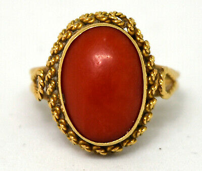 Antique 18K Solid Gold and Natural Untreated Red Coral Ring Size 5.5