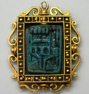 Antique Victorian 18K Solid Yellow Gold and Ancient Egyptian Seal Pendant