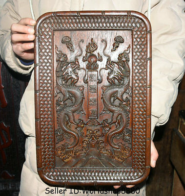 """14.2"""" Rare Antique Old Chinese Huanghuali Wood Dynasty 2 Dragon Bead Plate Tray"""