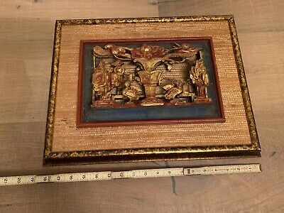 Framed Old Chinese Wood Gold Hand-Carved Trees Flower Bird Qing Dynasty
