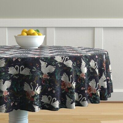 Round Tablecloth Swan Blue White Grape Floral Purple Bird Cotton Sateen