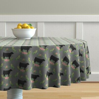 Round Tablecloth Black Steer Watercolor Farm Floral Cow Cattle Cotton Sateen