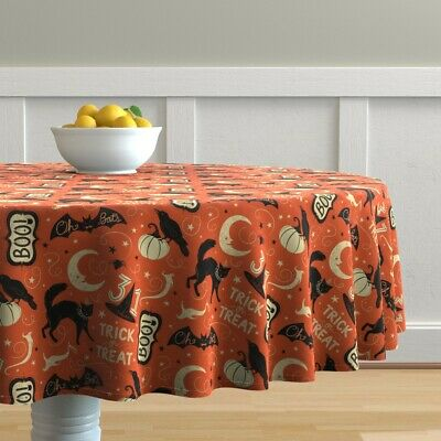 Round Tablecloth Retro Halloween Kitsch Vintage Crow Trick Or Cotton Sateen