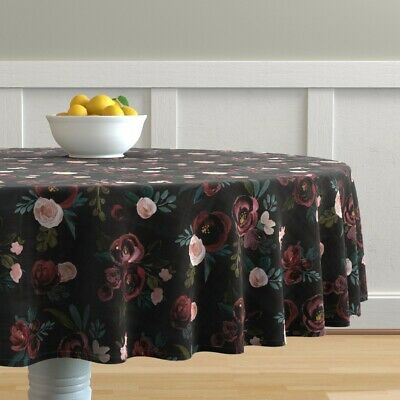 Round Tablecloth Floral Black Burgundy Pink Green Nursery Decor Cotton Sateen