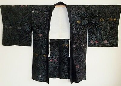 AUTHENTIC SILK JAPANESE HAORI KIMONO SPARKLE GOLD SILVER Lamé WAVE JACKET