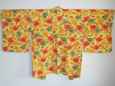 Authentic Silk Japanese Haori Kimono Yellow Peony Trees Evening Jacket