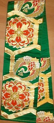 Authentic Vintage Japanese Kimono Whole Fukuro Obi Silk Crane Rainbow Mandala