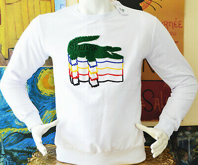 New Lons Sleeve White Embossed Lacoste T-shirt  S M L XL