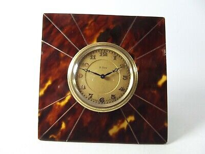 Small Antique Clock Swiss Made In Square Frame Ref 174/4