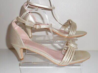 Gold 2 Part Kitten Heeled Shoes/ Sandals Size 5 Wide Fit (Eee) Bnwt From Evans