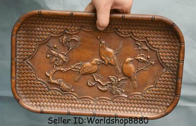 "11.6"" Antique Old Chinese Dynasty Huanghuali Wood Carved Flower Birds Plate Tray"