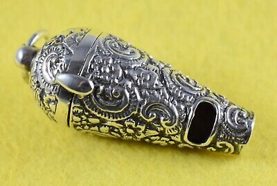 Antique Silver Chatelaine Whistle Vinaigrette