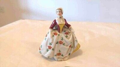 Antique 19th Century Sitzendorf Porcelain Dresden Lady In Skirts Figurine w Flaw