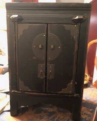 Antique Chinese Wood Storage Jewelry Chest Treasure  Box