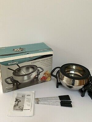 Rival Stainless Steel Electric Fondue Pot 8 Person 3ltr