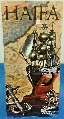 Vintage Travel Brochure Haifa Israel Tourist Map Museum List Locations 1960's