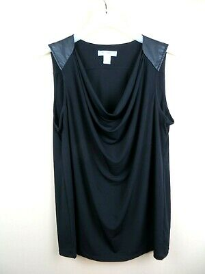Womens maternity black sleeveless blouse top sz L Motherhood Maternity faux leat