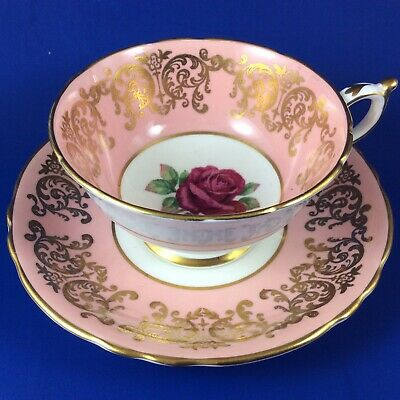 Paragon Red Cabbage Rose Fine Bone China Tea Cup And Saucer