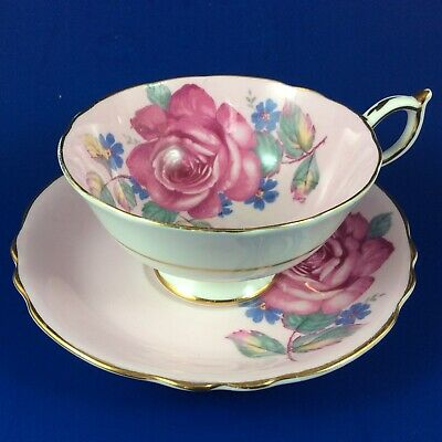 Paragon Pink Cabbage Rose Fine Bone China Tea Cup And Saucer