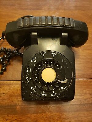 Vintage Retro Black Rotary Desk Phone 1950'S Bell Systems by Western Electric
