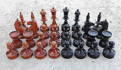 Antique German style red black small chess pieces vintage wooden chessmen set