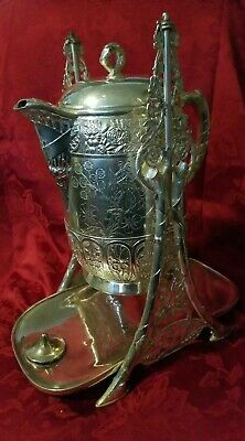 Antique Victorian Pairpoint Silverplate Tipping Ice Water Pitcher Pot /Stand 16""