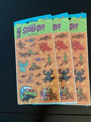 Lot Of 3 vintage 1998 SCOOBY-DOO 2 Sheets Stickers (AR-13)