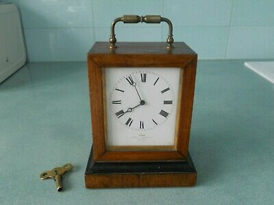 Antique Dent Of London Wooden Carriage Clock And Key - French Movement