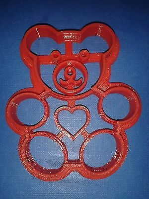 - 3D Printed Teddy Bear Cookie Cutter 0009 High Quality Red
