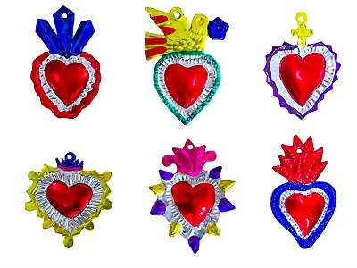 Mexican Milagros Charms - Tin Painted Sacred Heart Ornaments - Mexican Art Set 6
