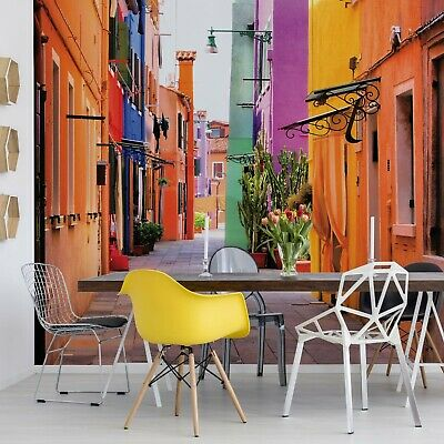 Old Colourful Street Photo Wallpaper Wall Mural Fleece EasyInstall Paper