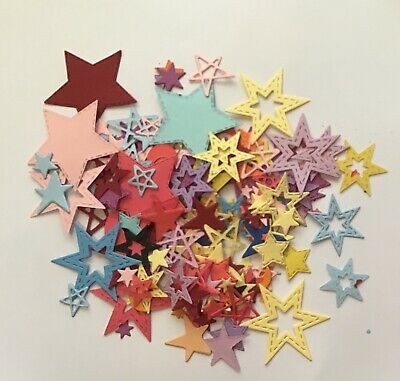 200+ Bulk Star Shaped Paper  Punchies Craft/Scrapbooking Large/Med/Small mix