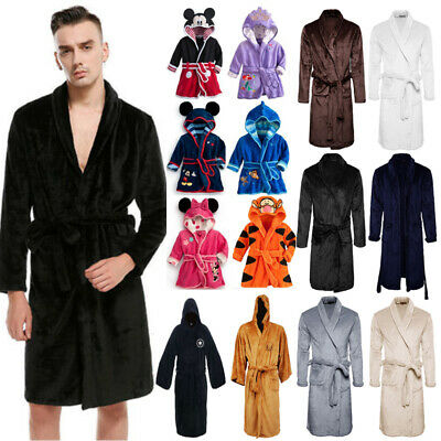 Men Women Boys Girls Long Sleeve Pajamas Hooded Bathrobe Nightwear Dressing Gown