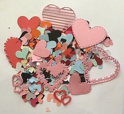 200+ Bulk Heart Shaped Paper  Punchies Craft/Scrapbooking Large/Med/Small mix