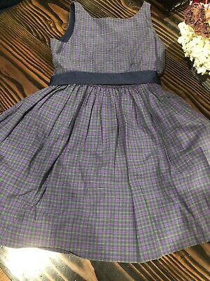 Girls Polo Ralph Lauren Dress Tartan Plaid Holiday Sleeveless 10 Purple Navy
