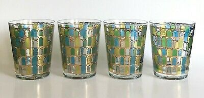 Vtg Mid Century Set of 4 Cera 22K Gold Blue Yellow Green Window Barware Glasses