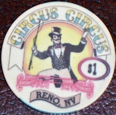 Old $1 CIRCUS CIRCUS Casino Poker Chip Vintage Antique Chipco Mold Reno NV 1995
