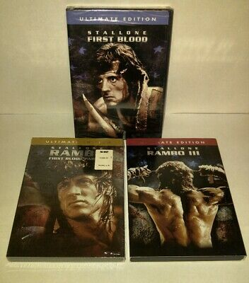 Sylvester Stallone Rambo 1 - 3 Ultimate Edition on DVD # 1 & 2 New # 3 Preowned