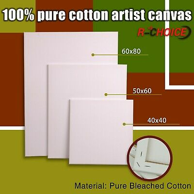 5x Blank Painting Canvas Artist Stretched White Primer Oil Acrylic Board Frame