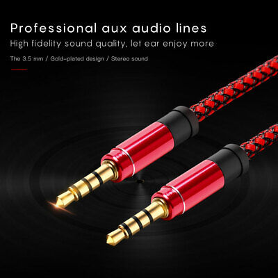 3.5mm Jack Audio Cable Male to Male AUX Cord for Car Phone - Braided Gold Plated