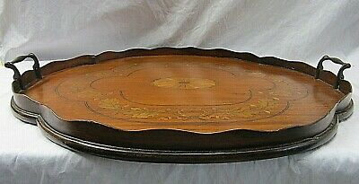 Top Quality Edwardian Inlaid Mahogany Serving Tray Quaterfoil Oval Pie Crust