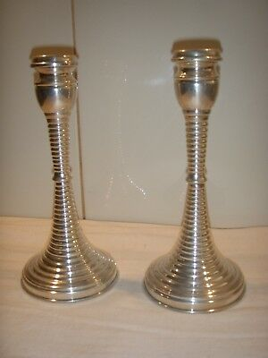 Pair Vintage Sterling Silver Candle Sticks 20.5 cm High