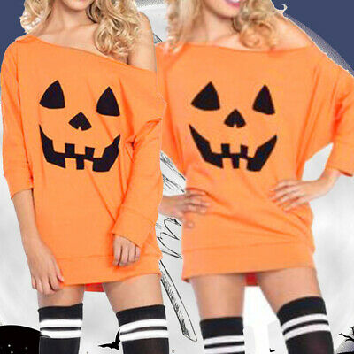 Women Halloween Pumpkin Smile Face Long Sleeve Off Shoulder Mini Shirt Dress US