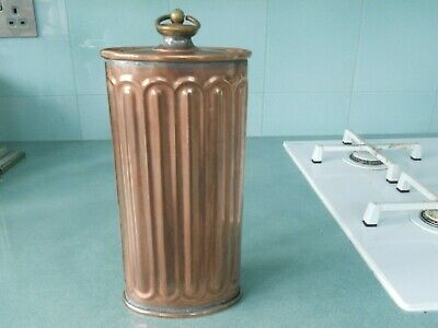 Antique French Ribbed Copper Hot Water Bottle / Carriage Foot Warmer Bed Warmer