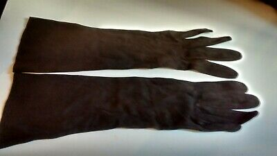 Vintage Brown Faux Suede Evening Fancy Dress Gloves