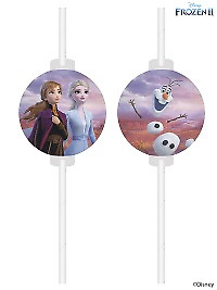 Pack Of 4 Disney Frozen 2 Paper Straws Birthday Party Elsa Anna BNWT Princess